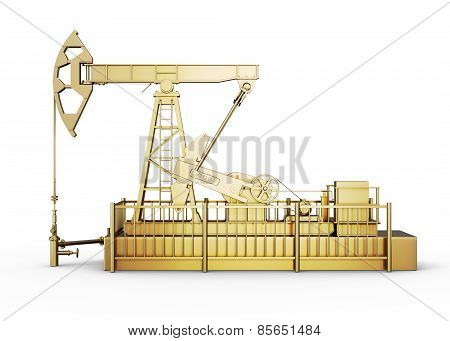 Side View Golden Machine Oil Pump
