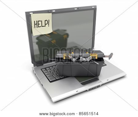 The Laptop With Box Tools On A White