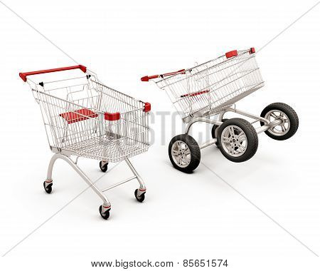 Concept Two Carts For A Supermarket