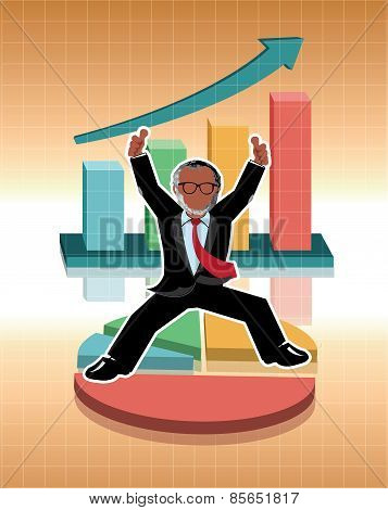 Businessman jumping with business graphs background