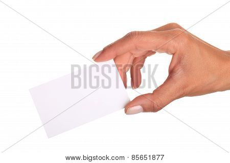 Women Hand Holding Credit Card Isolated On White Background