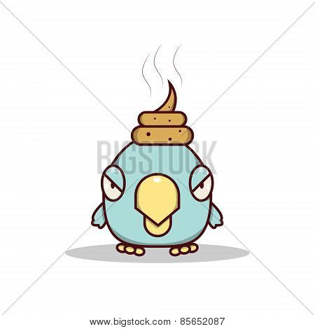 Isolated cartoon blue little bird get lucky on his head