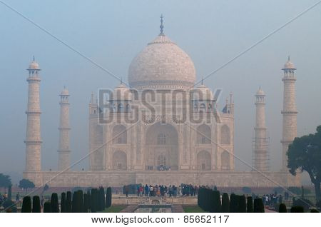 Taj Mahal In The Fog Early Morning