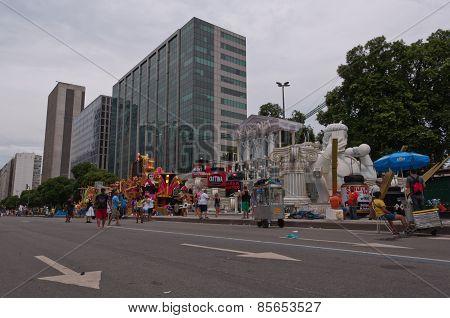 View of Avenida Presidente Vargas avenue in Rio de Janeiro during Carnival
