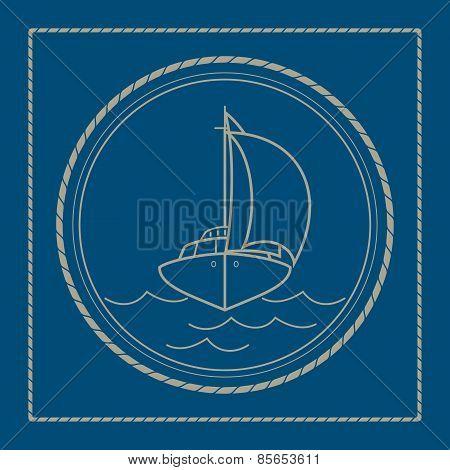 Marine Emblem With Yacht, Sailboat