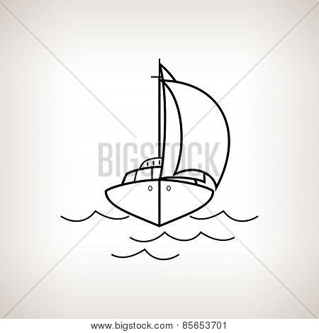 Silhouette Yacht On A Light Background