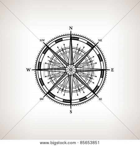 Silhouette Compass Rose On A Light Background