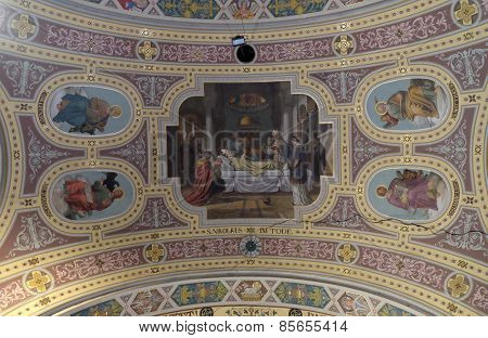 BAD ISCHL, AUSTRIA - DECEMBER 14: Death of saint Nicholas, fresco painting in parish church of St. Nicholas in Bad Ischl, Austria on December 14, 2014.