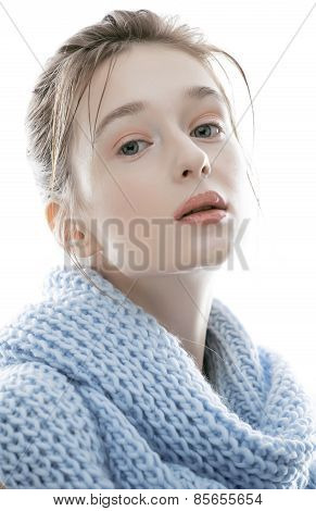 young real blond woman in scarf