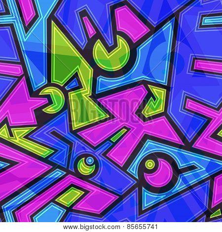 Colored Future Geometric Seamless Pattern