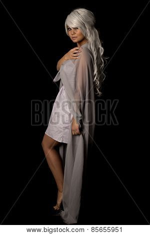 Woman Gray Hair Full Body Looking Side