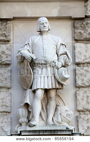 VIENNA, AUSTRIA - OCTOBER 10: Emmerich Alexius Swoboda von Wikingen: Citizen, on the facade of the Neuen Burg on Heldenplatz in Vienna, Austria on October 10, 2014.
