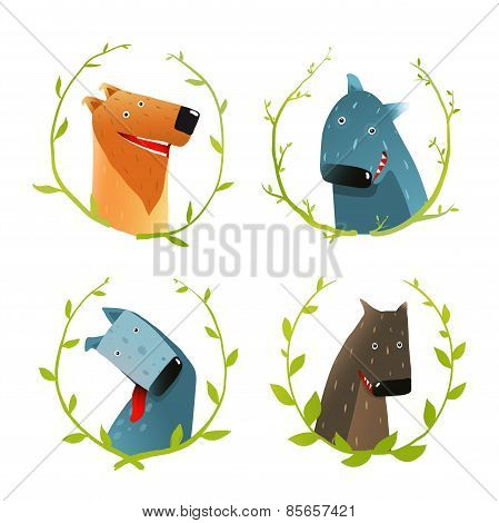 Set of Cartoon Happy Domestic Dogs Smiling Portraits