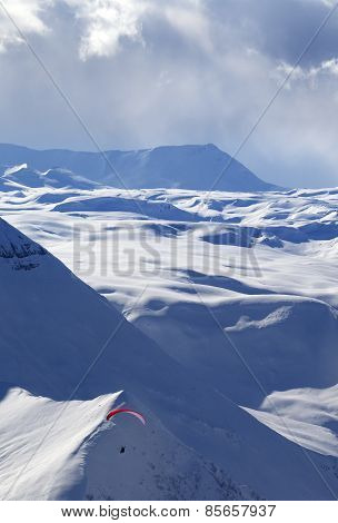 Speed Flying In Winter Evening Mountains