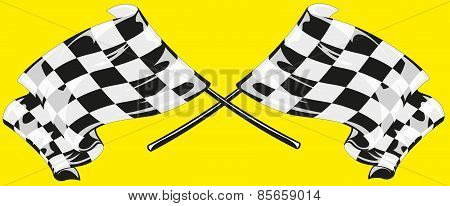 Two checkered flags on a yellow background