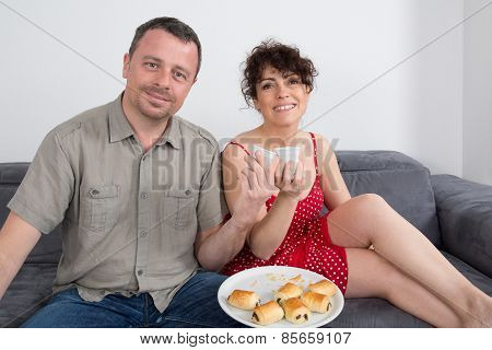 Romantic Couple Lovely Couple At Home Sitting At Sofa