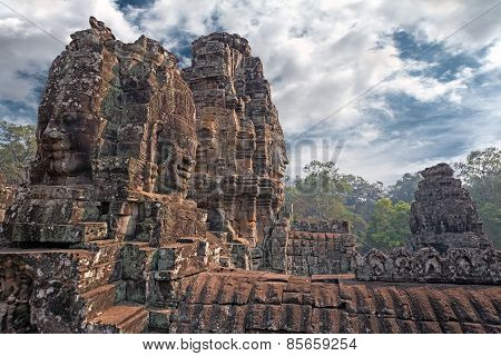 carved stone towers in khmer style