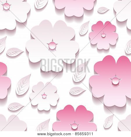 Floral Background Seamless Pattern, Pink 3D Sakura Blossom