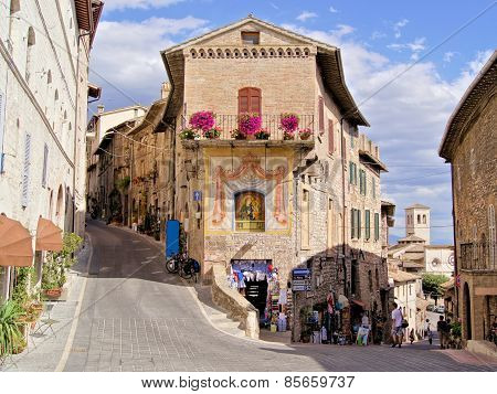 Picturesque street in Assisi, Italy