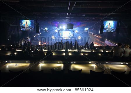 MOSCOW - APR 05, 2014: VIP area on the second floor in Stadium Live during the cult festival Trancemission
