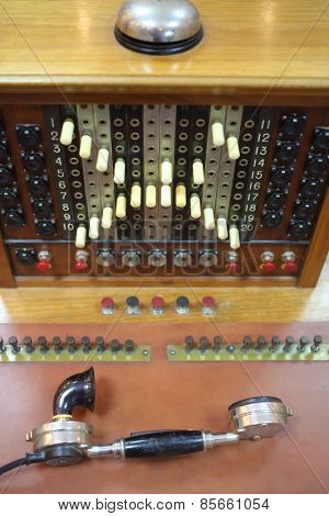 MOSCOW - APR 05, 2014: Old telephone switchboard with handset in the Museum of the History telephone in Moscow