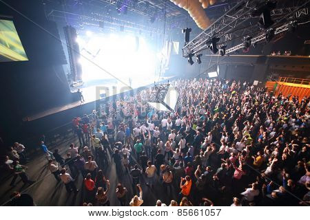 MOSCOW - APR 05, 2014: Huge crowd of people at the cult festival Trancemission in Stadium Live, top view