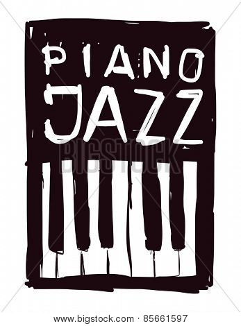 Piano. Hand drawn. Vector illustration.