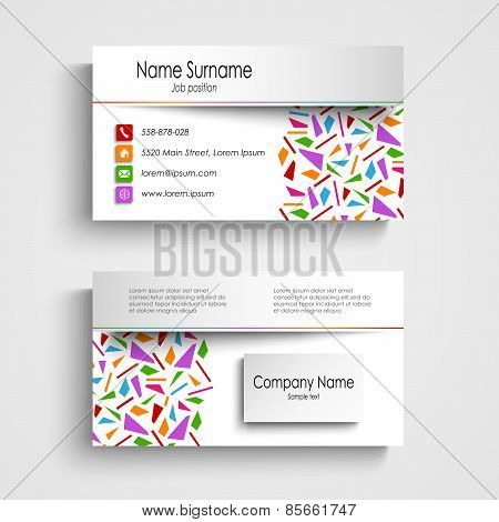 Modern White Business Card With Colored Shards