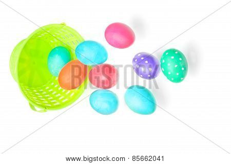 Multicolor Easter Eggs Over White