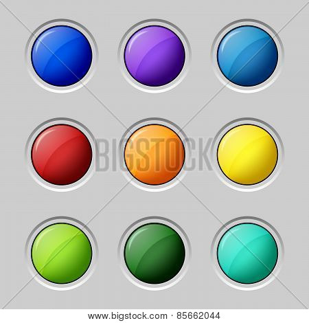 Web Colored Buttons Round Empty Surface