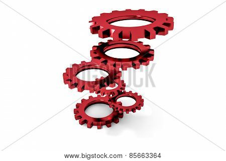 Tower Of Red Colored Metallic Cogwheels Hovering