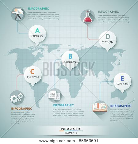 3d vector world map illustration and infographics design template.