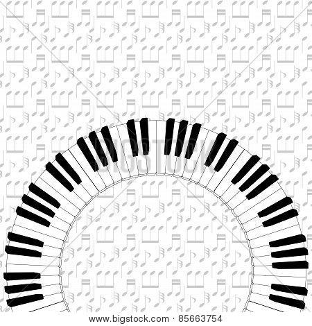 Piano Keyboard On Note Backgorund