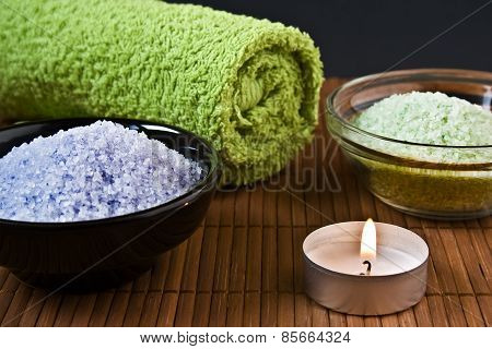 Bath Salt With Towel And Burning Candle