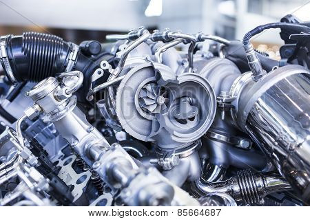 Disassembled parts of sports vehicle motor