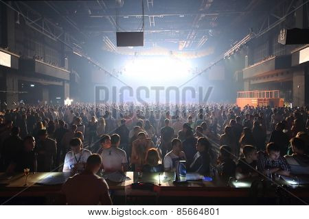 MOSCOW - APR 05, 2014: Huge crowd of people at the cult festival Trancemission in Stadium Live