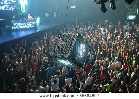 MOSCOW - APR 05, 2014: Stage and a huge crowd of people at the cult festival Trancemission in Stadium Live, top view