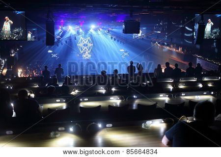 MOSCOW - APR 05, 2014: Second floor in Stadium Live during the cult festival Trancemission