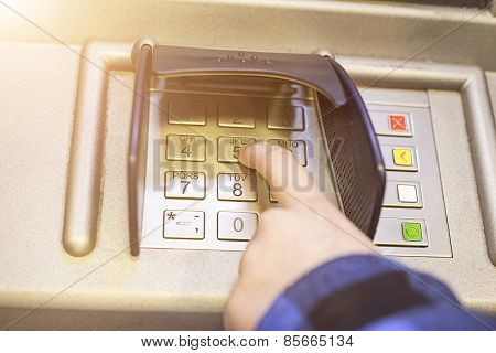 Close-up Of Hand Entering Pin, Pass Code On Atm, Bank Machine Keypad