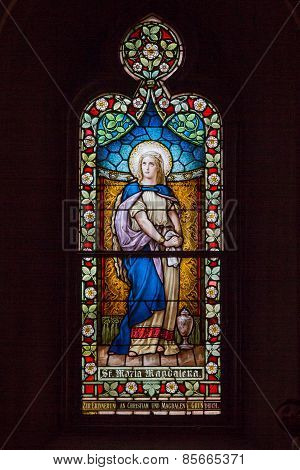 Saint Louis, Mo- March 11: Stained Glass Window Of Mary Magdelene At St Frances De Sales Oratory
