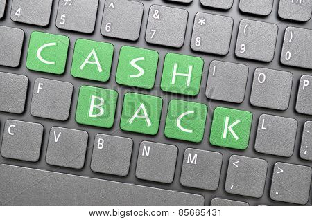 Green cash back key on keyboard
