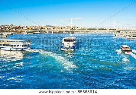 Boats On Sunny Morning In Istanbul