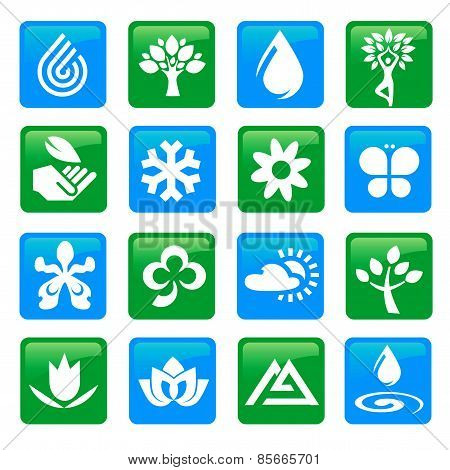 Nature And Water Icons Buttons