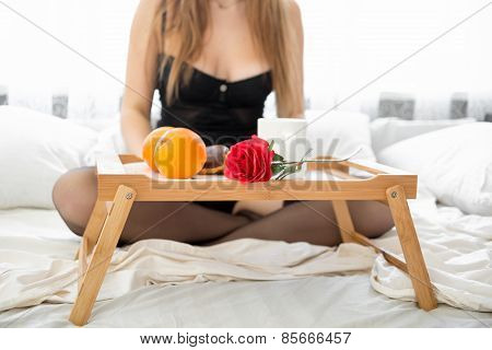 Closeup Shot Of Breakfast Standing On Tray In Bed