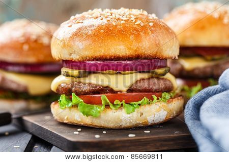 Delicious burger on wooden board