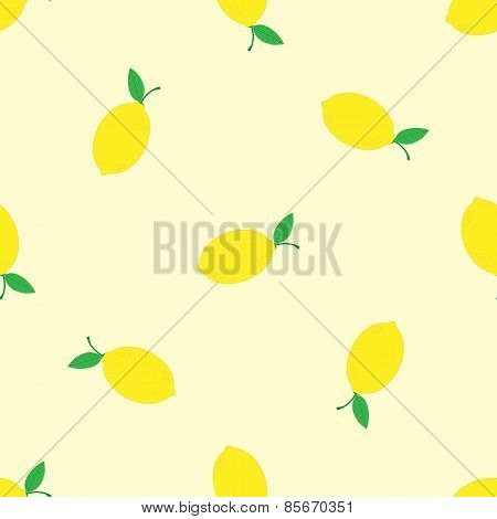 Watercolor seamless pattern with lemons on the white background. Vector illustration. Hand drawn bac