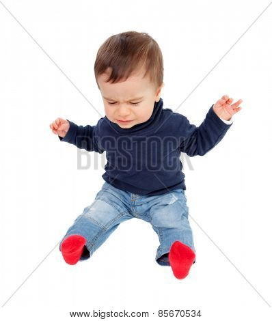 Nice baby crying isolated on a white background
