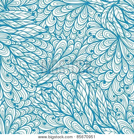 Seamless Floral  Blue Doodle Pattern With Abstract Nature Elements