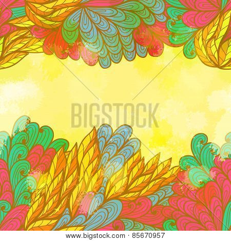Hand Drawn Seamless Bright Invitation Card Design With Nature Elements. Eps10