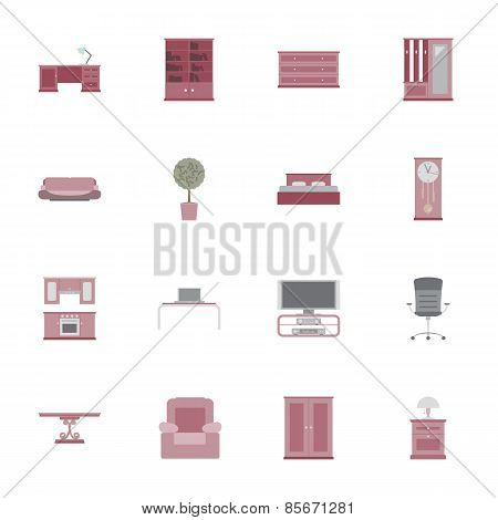 Furniture Flat Icon Set